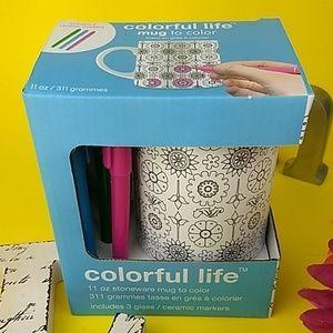 NWT Colorful Life mug to color Craft set